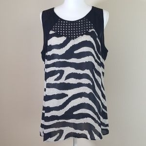 Cabi zebra pattern sleeveless top